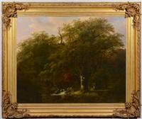 monumental oil on canvas landscape by johann bernard klombeck