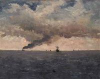 steamboats at sea by alfred stevens