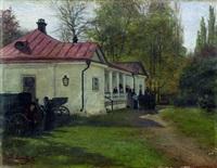 cour intérieure d'un manoir russe by mikhail mikailovich iarovoi