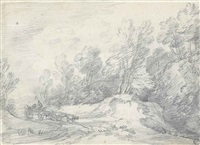 road through a wood with farm waggon approaching by thomas gainsborough