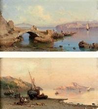 petit pont sur l'eau (+ pêcheurs sur la grêve; 2 works) by alessandro la volpe
