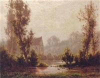 uvejrstemning ved en skovso by alexandre-charles-joseph gittard