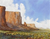 mormon pioneers send father and son ahead in monument valley - with blanket to signal at fort by david allen halbach