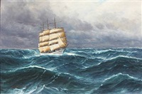 seascape with a saling ship in high waves by alfred jensen