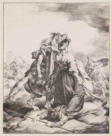 mameluck défendant un trompette blessé by théodore géricault