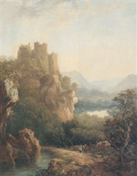 figures resting on a path before a hilltop castle by margaret nasmyth