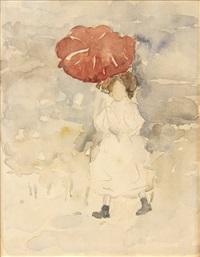 study of a young girl in summer dress walking with red parasol by maurice brazil prendergast