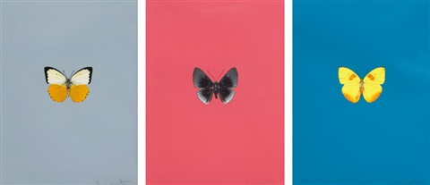 its a beautiful day set of 3 by damien hirst