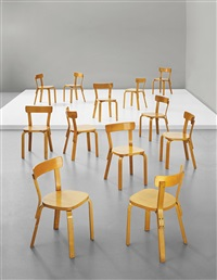 early set of twelve dining chairs, model no. 69 by alvar aalto