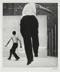 handball players, houston street, new york by leon levinstein