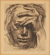 selbstbildnis mit hand vor der stirn (self-portrait with hand in front of face) by käthe kollwitz