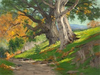 california autumn (oak & sycamores), arroyo landscape by charles partridge adams