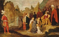 two religious scenes. one with women and children interceding with a commander, the other with a procession of people with bulls and garlands, that one from the acts of the apostles 14: 11-18 (2 works) by rombout van troyen