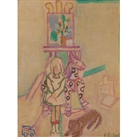 untitled (girl with dog and spotted pony) by françoise gilot