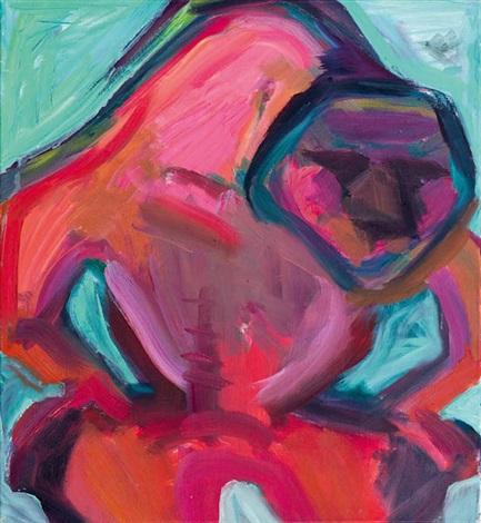 der rote zorn gebückte figur by maria lassnig