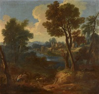 berger dans la clairière, au loin un moulin by french school (17)