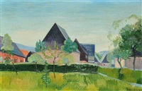 a village in the foothills of the krusne mountains by heribert fischer-geising