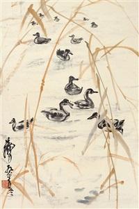芦塘群鸭 立轴 纸本 by huang zhou