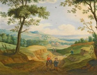 an extensive landscape with travellers on a road by isaac van oosten