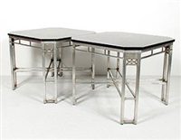 pair of art deco tables from higbee's silver grille by louis rorimer