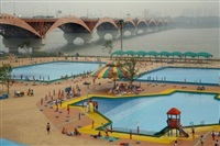 swimming pool near, namham river, seoul south korea by harry gruyaert