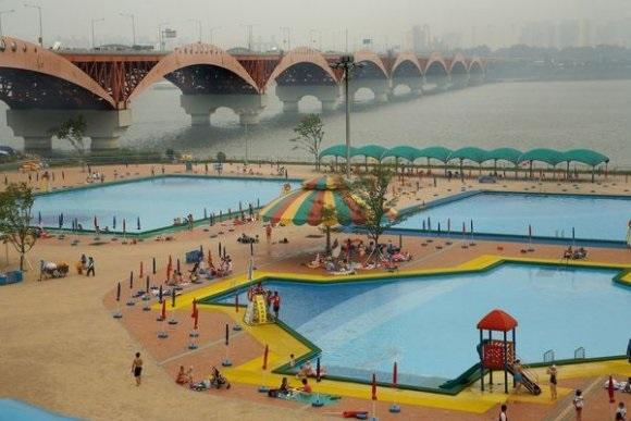 swimming pool near namham river seoul south korea by harry gruyaert