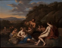 jeune femme se faisant verser à boire dans un nautile by gerard hoet the elder
