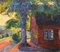 farmyard in sunlight by hugo volkwarth