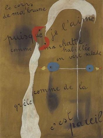 painting poem le corps de ma brune puisque je laime comme ma chatte habillée en vert salade comme de la grêle cest pareil by joan miró