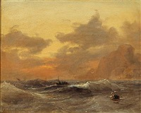 evening sun over the sea by daniel hermann anton melbye