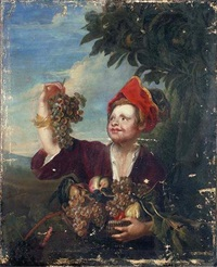 a boy picking grapes in a landscape by stefano camogli