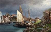hus og båter i ny-hellesund by edvard skari