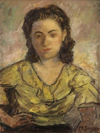 portrait of a woman by moses soyer