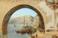 harbour scene from coblenz with people on the quay by henry c. gritten