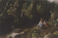 children playing by a stream by j.b. miller