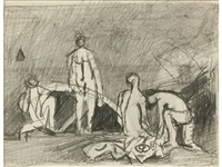 figures on the beach - two studies by keith vaughan