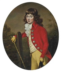 portrait of a gentleman in a scarlet coat and yellow breeches, a cane in his right hand, a hat in his left, in a landscape by john russell