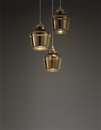 kultakello (golden bell) ceiling lights, model no. a330 (set of 3) by alvar aalto