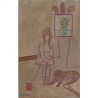 untitled (girl with dog and toy) by françoise gilot