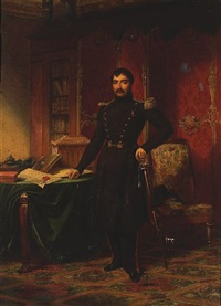 a military officer in a study with documents and books on a table by louis-charles-auguste couder