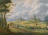 summer landscape with a horse and cart and other figures on a path by isaac van oosten