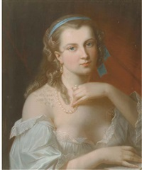 a young beauty wearing a pearl necklace by akos von aranyossy