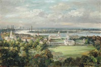 the royal naval college, greenwich and an extensive panorama of the thames observed from greenwich park by max hofler