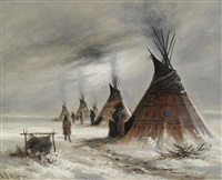 sioux indian camp in winter by astley david middleton cooper