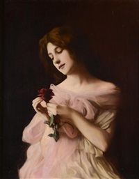 girl with a rose by vlacho bukovac