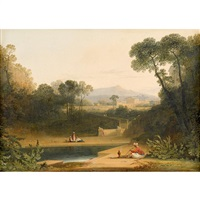 arcadian landscape with hookah smokers by continental school (19)
