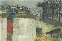 cows passing into a yard by leonard rosoman