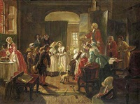 hogarth's studio, 1739. holiday visit of foundlings to view the portrait of captain coram by edward matthew ward