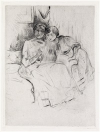 berthe morisot dessinant, avec sa fille (from gazette des beaux-arts) by berthe morisot