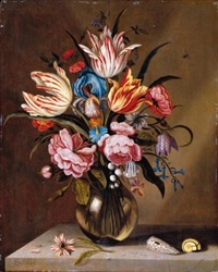a still life of pink roses, striped tulips, a blue iris, a striped anemone, fritallary, lily of the valley, columbine and bluebells in a glass vase on a stone ledge, with two shells by abraham bosschaert